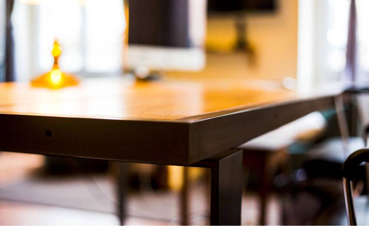 fer et tendance ferronnerie sur mesure pied table bois toulouse