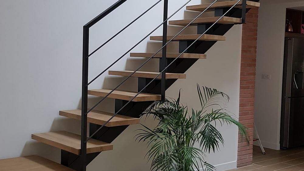 escalier quart tournant bois et métal